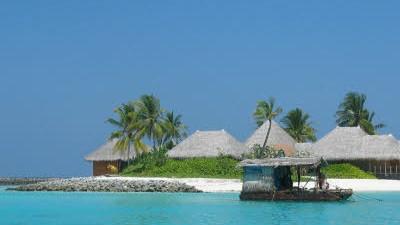 Malediven: Auch diese Hotelinsel im Nord-Male-Atoll dürfte vom Untergang bedroht sein.