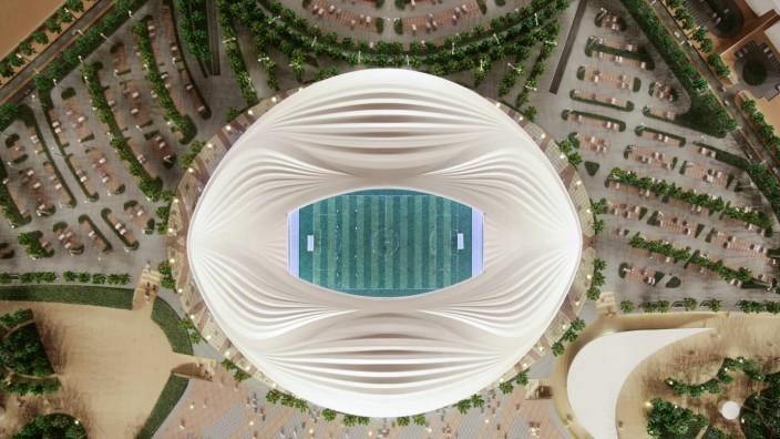 DOHA QATAR MAY 13 2018 A mock up of Al Wakrah Stadium designed by Iraqi British architect Zaha