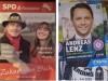 Links das SPD-Plakat von Magdalena und Vater Bernhard Wagner bei der Kommunalwahl der Gemeinde Egmating 2020.
