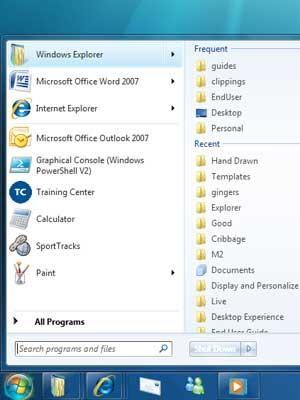 Startmenue, Windows 7 - Microsoft