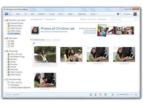 Windows Live Fotogallerie, Windows 7 - Microsoft