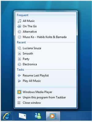 Media Player Schnellauswahl, Windows 7 - Microsoft
