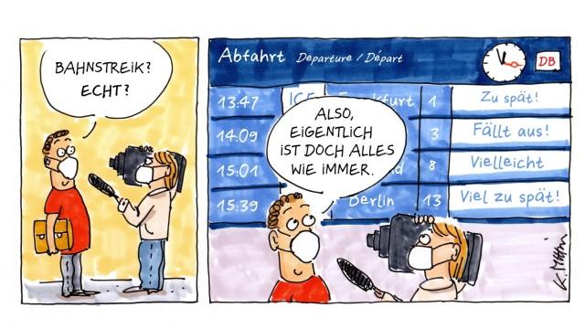 Bahnstreik: SZ-Zeichnung: Karin Mihm