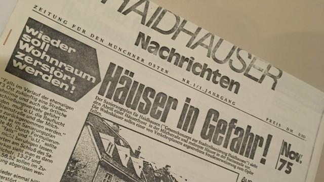 Haidhauser Nachrichten: Hier die allererste Ausgabe der Haidhauser Nachrichten aus dem Jahr 1975. Aktuell umfasst die Auflage 1200 Stück. Und immerhin: 200 Exemplare gehen an feste Abonnenten.