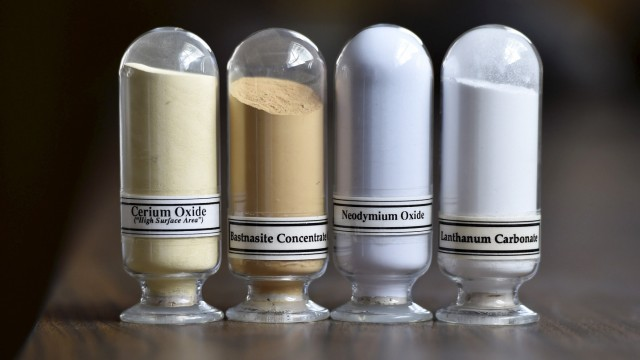 Samples of rare earth minerals, Cerium oxide, Bastnasite, Neodymium oxide and Lanthanum carbonate are on display during a tour of Molycorp's Mountain Pass Rare Earth facility in Mountain Pass, California