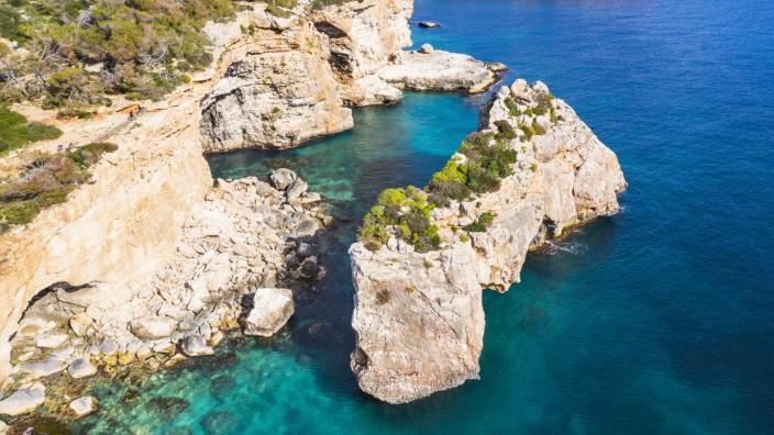 Spain, Mallorca, Santanyi, Drone view of Es Pontas arch in summer SIEF09940