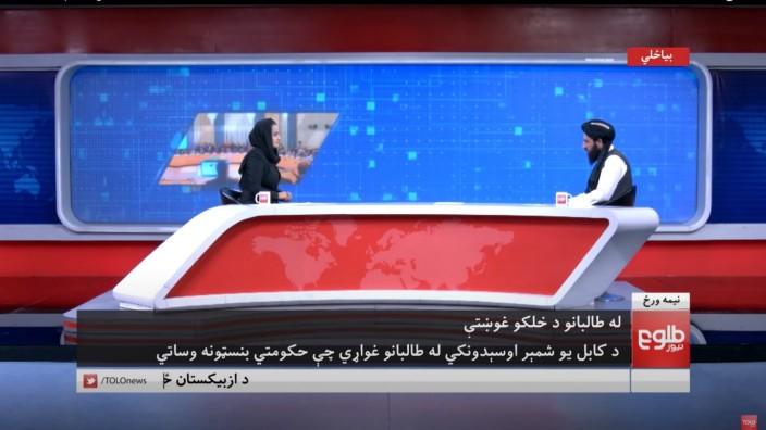 Pressestimmen zur Afghanistan- Krise: Beheshta Arghand interviewt den obersten Sprecher der Taliban, Abdul Haq Hammad. Inzwischen hat auch sie Afghanistan verlassen.