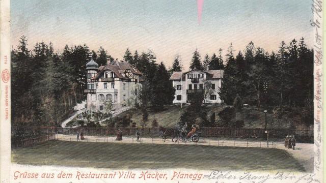 """Krailling: Eine Postkarte zeigt das """"Restaurant Villa Hacker"""" aus den Jahren vor dem Ersten Weltkrieg."""