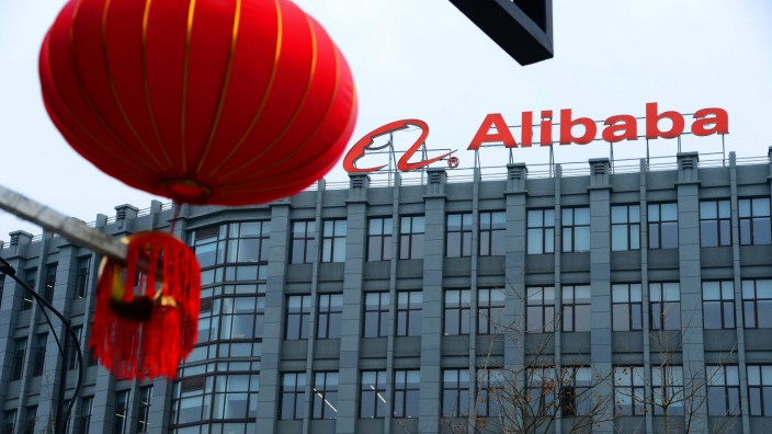 HANGZHOU, CHINA - MARCH 13: The Alibaba logo hangs on the headquarters of Alibaba Cloud (AliCloud) on March 13, 2021 in