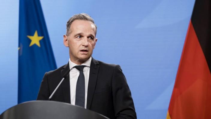 Bundesaussenminister Heiko Maas, SPD, aufgenommen im Rahmen eines Presse Statement im Auswaertigen Amt in Berlin. 23.08