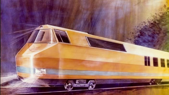 Ausstellung in Nürnberg: Grafischer Entwurf für die projektierte, aber nie produzierte Lok der Baureihe BR 603.
