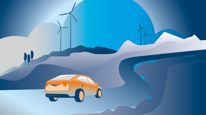 Fahren mit Strom: Nach einem zögerlichen Anlauf der E-Mobilität fahren nun immer mehr Stromer auf Deutschlands Straßen. Illustration: Stefan Dimitrov