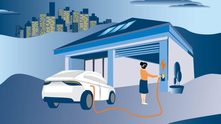 Elektromobilität: Die Wallbox am eigenen Haus ist praktisch. Aber je vernetzter die Technik wird, desto höher ist der Informationsbedarf. Illustration: Stefan Dimitrov