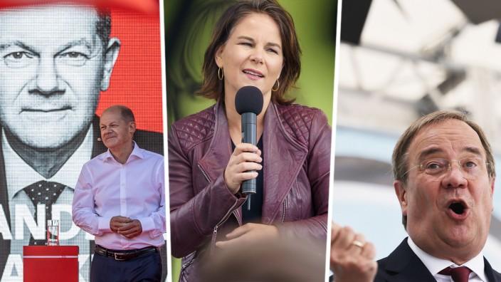 Bundestagswahl: Olaf Scholz, Annalena Baerbock und Armin Laschet treten am Sonntagabend in der ersten TV-Diskussion vor der Bundestagswahl gegeneinander an.