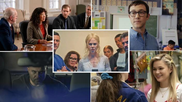 """Die besten Serien im August: Tipps im August (v. o. l. im Uhrzeigersinn): """"Die Professorin"""" (Netflix), """"Nine Perfect Strangers"""" (Amazon), """"Cruel Summer"""" (Amazon), """"Mr Corman"""" (Apple TV+) und """"Hit and Run"""" (Netflix)."""