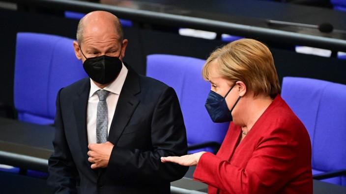 Union: Jahrelange Zusammenarbeit liegen hinter Finanzminister Olaf Scholz und Kanzlerin Angela Merkel.