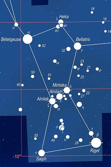 Constellation d Orion Constellation of Orion Carte de la constellation d Orion avec ses principa