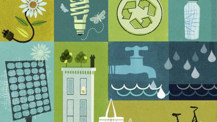 Collage zu Umwelt und Nachhaltigkeit PUBLICATIONxINxGERxSUIxAUTxONLY Copyright: xDonnaxGrethenx