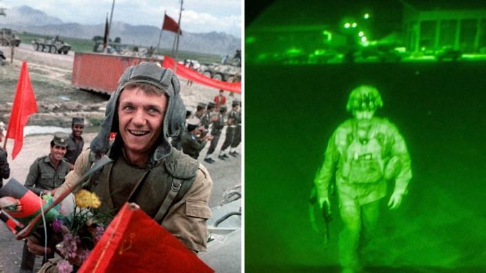 USA und Afghanistan: Blumenschmuck und lachende Gesichter: der sowjetische Truppenabzug im Februar 1989 (links). Joe Biden wollte keine pompösen Bilder: Der letzte US-Soldat, der Afghanistan verlässt, in seltsam artifizieller Nachtsicht-Optik.