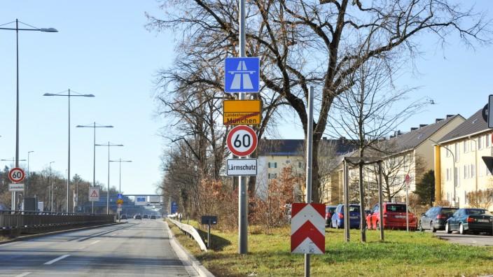 Beginn der A95 in München, 2020