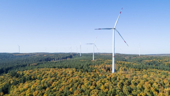Germany, Baden-Wurttemberg, Drone view of clear sky over wind farm in autumn forest of Swabian Jura RUEF02926