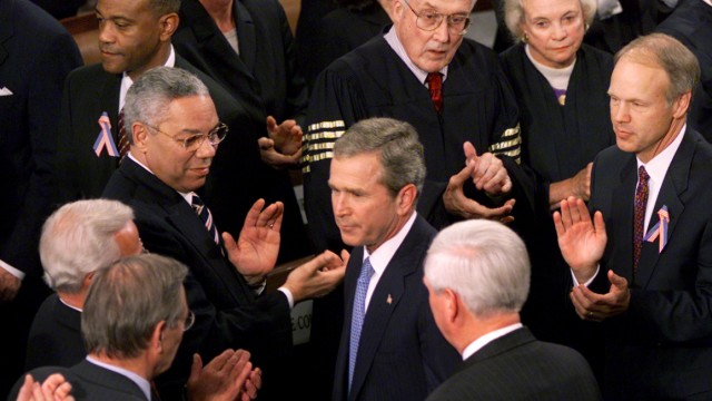PRESIDENT BUSH DEPARTS AFTER A JOINT SESSION OF CONGRESS