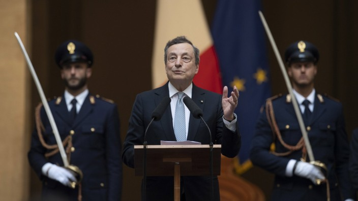 The Italian Premier Mario Draghi during the official visit of the football Italy national team, Nationalteam after winni