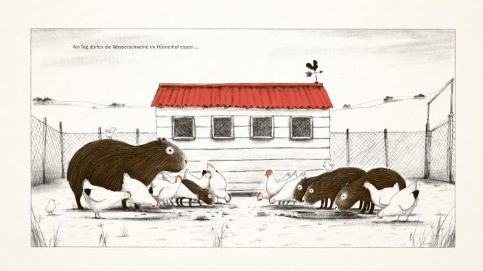 Bilderbuch: Die Wasserschweine im Hühnerhof