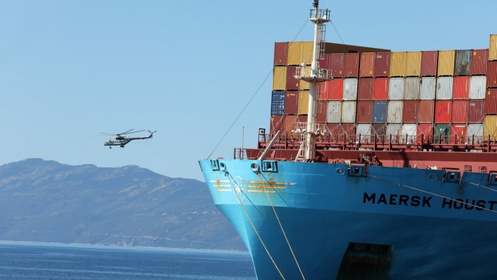 Ship Maersk Houston at the Brajdica container terminal Photo taken on September 1, 2021 show the ship Maersk Houston at
