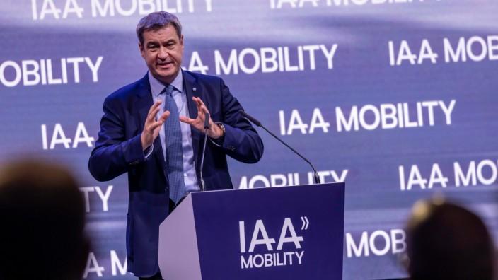 Bayerns Ministerpräsident Markus Söder. Offizielle Eröffnung der Messe IAA MOBILITY in München. Statt Autoshow hat sich