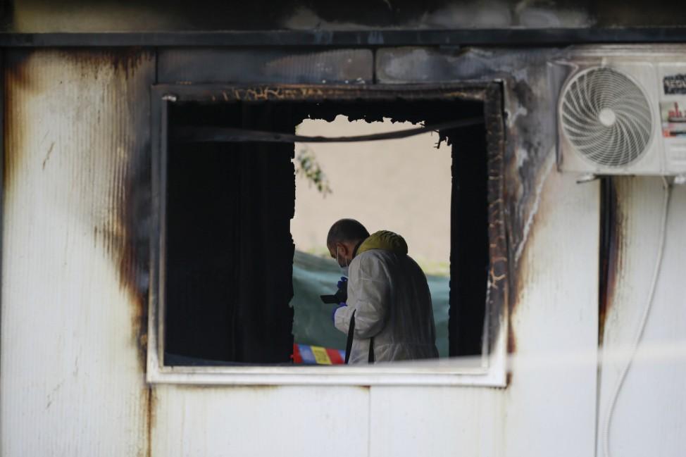 Kranhausbrand in Nordmazedonien