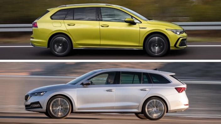 Familienkombis im Test: Fast gleich groß, die Technik stammt aus dem Baukasten von Volkswagen: Der Skoda Octavia Combi iV und VW Golf Variant sind Konkurrenten auf Augenhöhe.