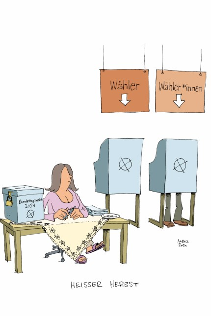 Geschlechtergerechte Sprache: SZ-Zeichnung: Denis Metz