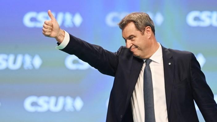 Vor der Bundestagswahl: Wiedergewählt, allerdings mit schlechterem Ergebnis: Markus Söder ist neuer alter CSU-Chef.