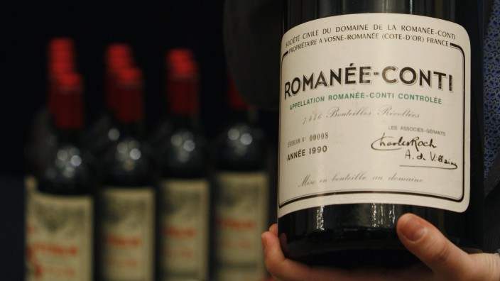 Jeroboam of 1990 DRC Romanee-Conti is shown at news conference ahead of Acker Merrall & Condit wine auction in Hong Kong