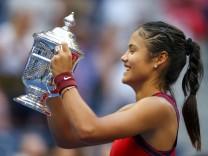 Emma Raducanu nach ihrem Sieg über Leylah Annie Fernandez bei den US Open.