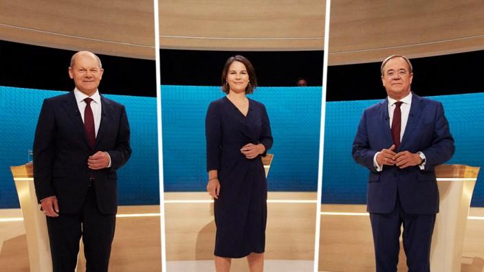 Stimmabgabe: Im TV-Triell: Olaf Scholz, Annalena Baerbock und Armin Laschet.