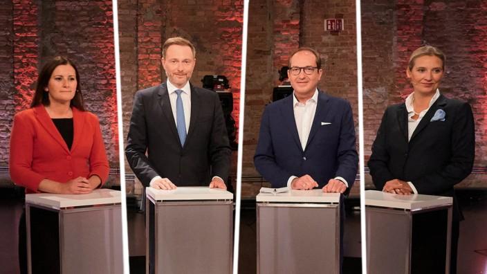 Vierkampf im TV zur Bundestagswahl: Janine Wissler, Christina Lindner, Alexander Dobrindt, Alice Weidel (von links)