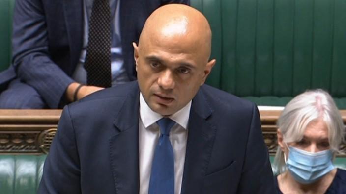 """Corona in Großbritannien: Falls die Infektionen in Großbritannien demnächst wieder stärker steigen, will Gesundheitsminister Sajid Javid mit einem """"Plan B"""" gegensteuern."""