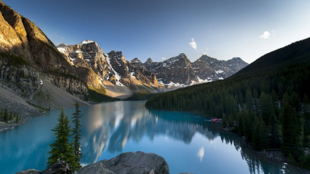 Canada, Alberta, Banff National: Moraine Lake Canada, Alberta, Banff National Park: Moraine Lake at dusk Canada PUBLICAT