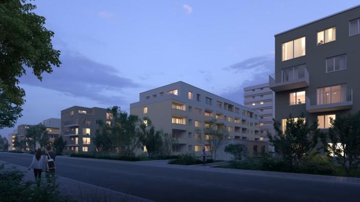 Kieferngarten: 58 neue Wohnungen: Das erweiterte Quartier am Kieferngarten, wie es laut Vonovia nach Fertigstellung einmal aussehen soll, hier der künftige Blick von der Burmesterstraße aus. Visualisierung: Vonovia/oh