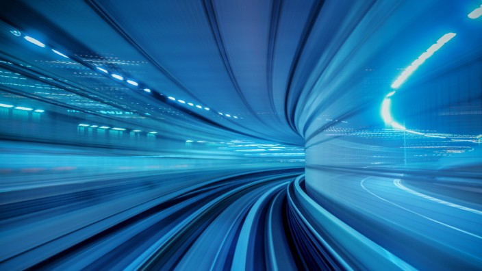Motion blur of Automatic train moving inside tunnel in Tokyo, Japan. (YAY Micro)