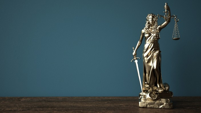 Lady Justice Statue Wooden Table Lady justice statue on the wooden table. 3d illustration.