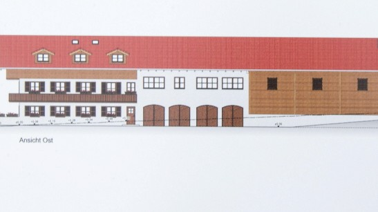 Starnberger See: Das Betriebsleitergebäude mit Ferien- und Mitarbeiterwohnungen sowie Maschinenhalle soll fast 900 Quadratmeter groß werden. Grafik: Gutsverwaltung Brandl