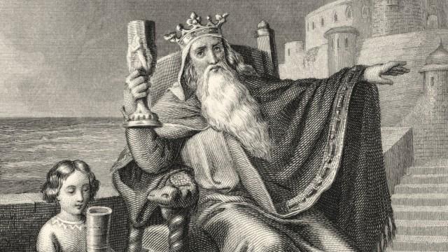 Dem Geheimnis auf der Spur: Der König von Thule nach dem Gedicht von Goethe: historischer Stich aus dem 19. Jahrhundert.