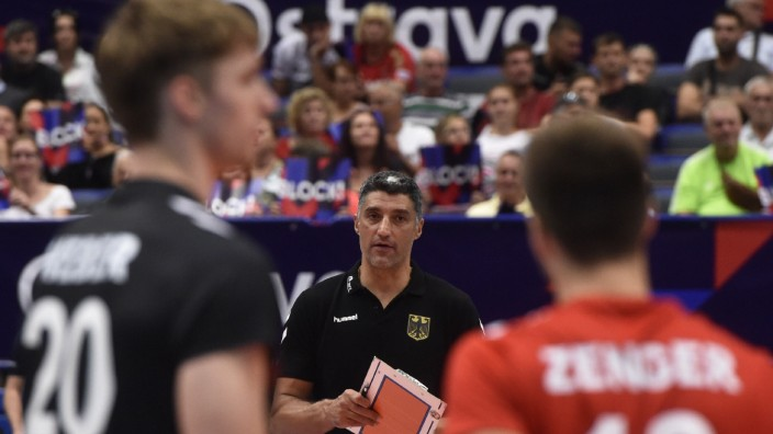 L-R Linus Weber, coach Andrea Giani and Julian Zenger (all ITA) in action during the Men s European Volleyball Champions