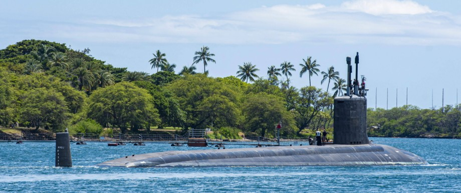 May 10, 2020, Pearl Harbor, HI, United States: The U.S. Navy Virginia-class fast-attack submarine USS Missouri departs P