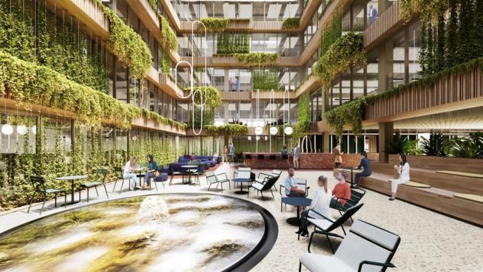 Immobilienprojekt in Aschheim: Grüne Oasen sollen das Arbeiten in dem neuen Gebäude in Aschheim versüßen. Die Büros werden laut Rock Capital zu Quadratmeterpreisen von knapp 18 Euro aufwärts zu haben sein. Simulation: Rock Capital