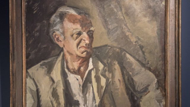 Ausstellung: Das Gemälde zeigt ein Porträt des Villenbesitzers Hans Carl, gemalt von Lothar-Günther Buchheim. Repro: Arlet Ulfers