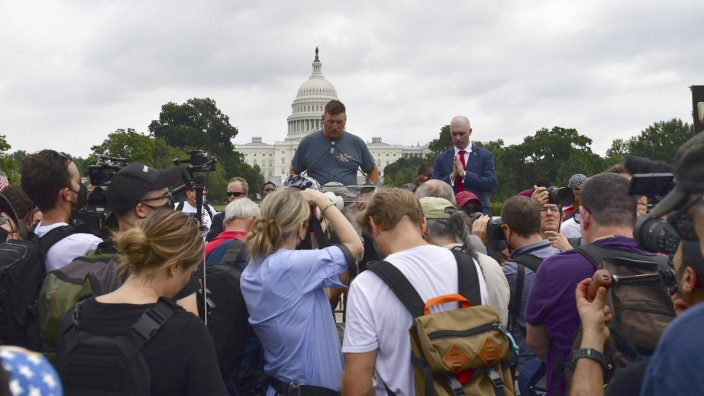 A Moment of Silence begins the Justice for J6 rally in Washington, D.C. on Saturday, September 18, 2021. Fewer protestor